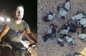ATV'lerle sahile girenler 16 caretta yavrusunu katletti, durdurmaya çalışan gönüllüyü yaraladı