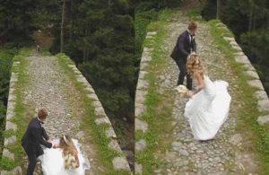 Düğün fotoğrafı çektiren gelin ve damadı köpek kovaladı