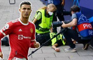 Ronaldo ısınma sırasında kadın görevliyi bayılttı